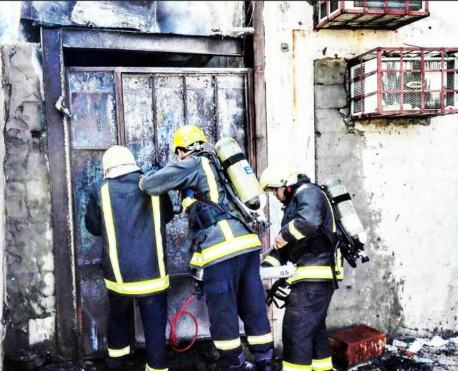 حريق محلات تجارية في ابوعريش3