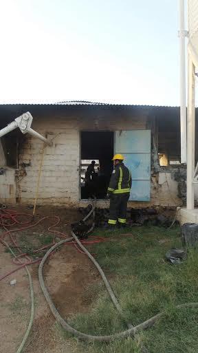 حريق مستودع بحظيرة دواجن في الطائف