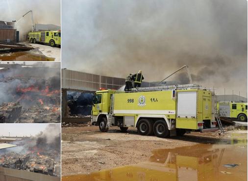 حريق مستودع حي السلي بالرياض