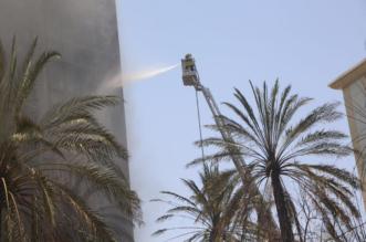 بالصور.. لا إصابات بشريّة في حريق فندق حي العزيزية بمكة - المواطن