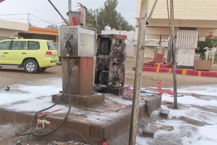حريق يلتهم مضخة ديزل بمحطة وقود ببريدة2