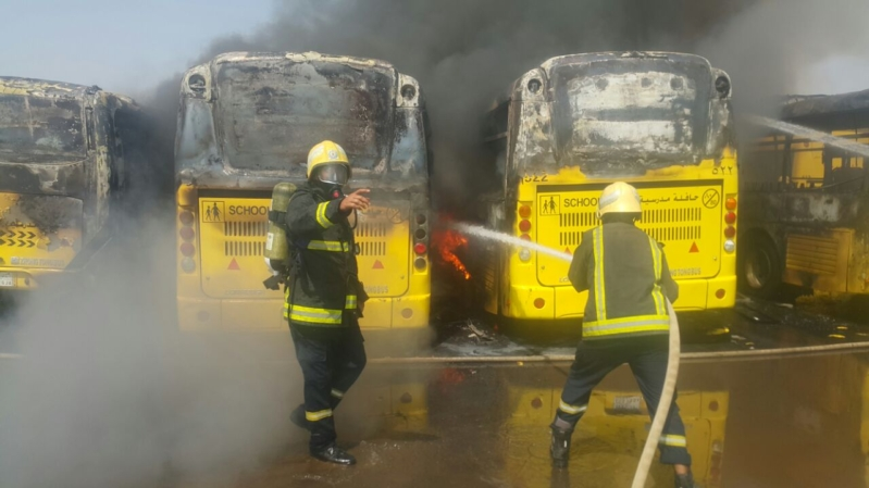 حريق 7حافلات بجازان1