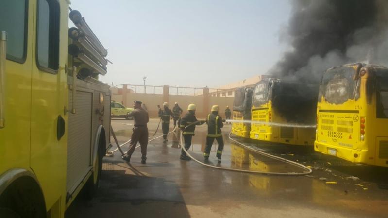 حريق 7حافلات بجازان11