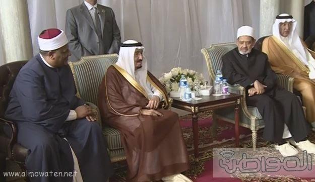 حشود واعلام وتدابير امنية احتفاء بالملك بجامع الازهر (7)