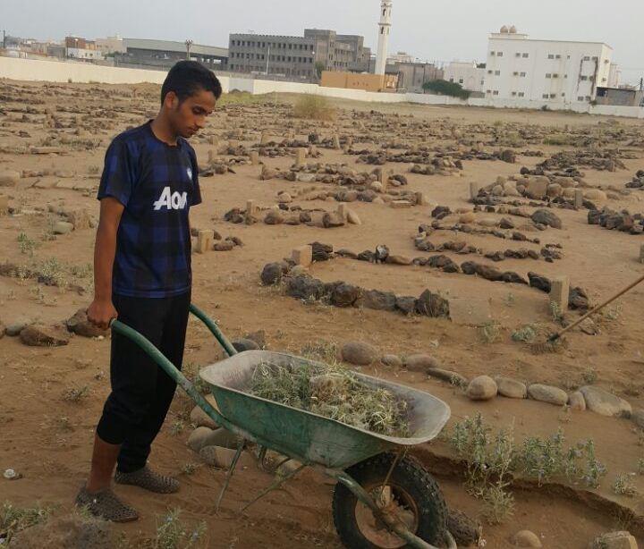 حملة تطوعية لنظافة مقابر الظبية وصيانتها (2)