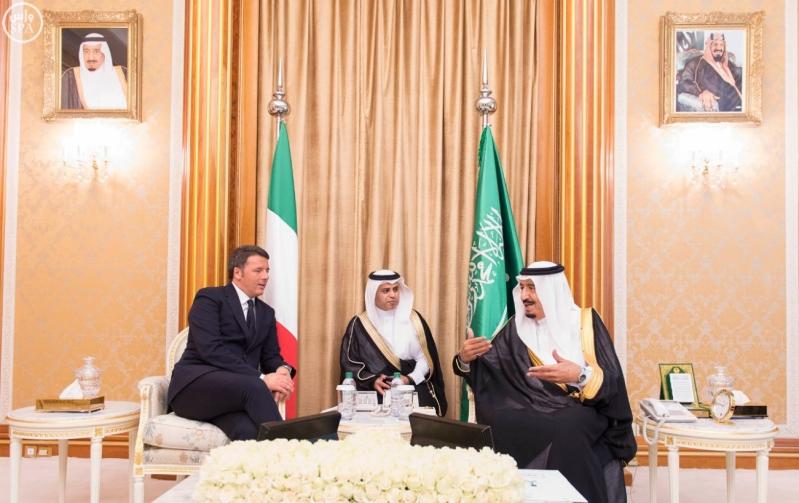 خادم الحرمين مع رئيس ايطاليا1
