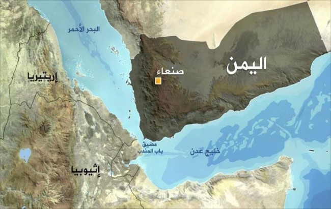خريطة اليمن باب المندب