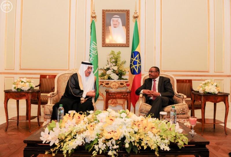 دولة رئيس وزراء أثيوبيا يستقبل وزيري المالية والزراعة (واس) 07-01-1437 هـ 2