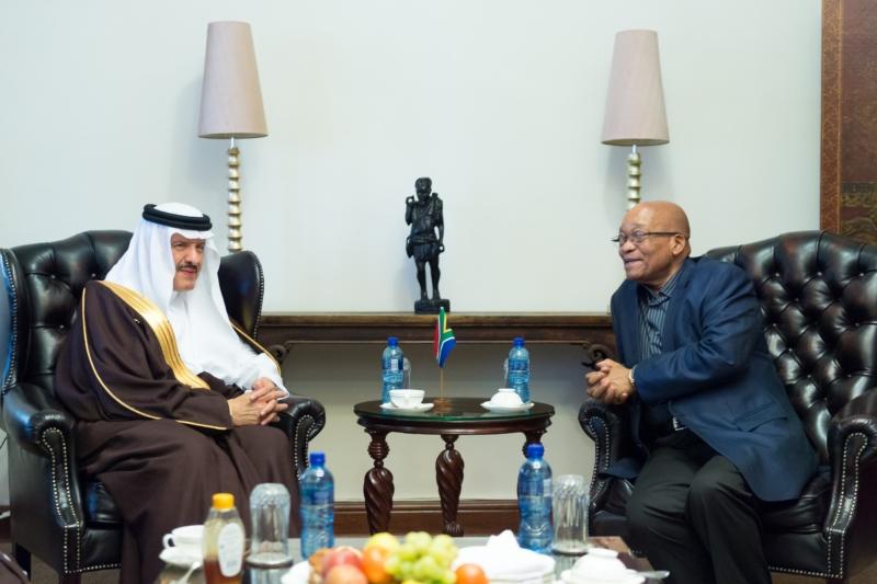 رئيس جمهورية جنوب افريقيا يستقبل الامير سلطان بن سلمان