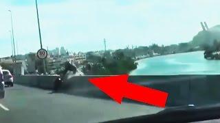 سائق دراجة يسقط من فوق أحد الجسور في البرازيل