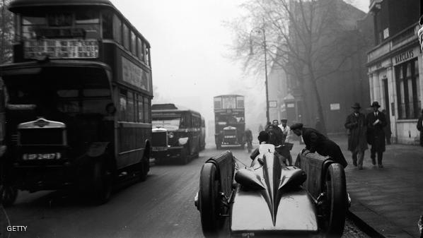 April 1929:  The Golden Arrow, a record breaking car, being taken through a street en route to Selfridges department store in London. Prior to this, Major Henry Segrave broke the land speed record using this car in Daytona, USA.  (Photo by Fox Photos/Getty Images)