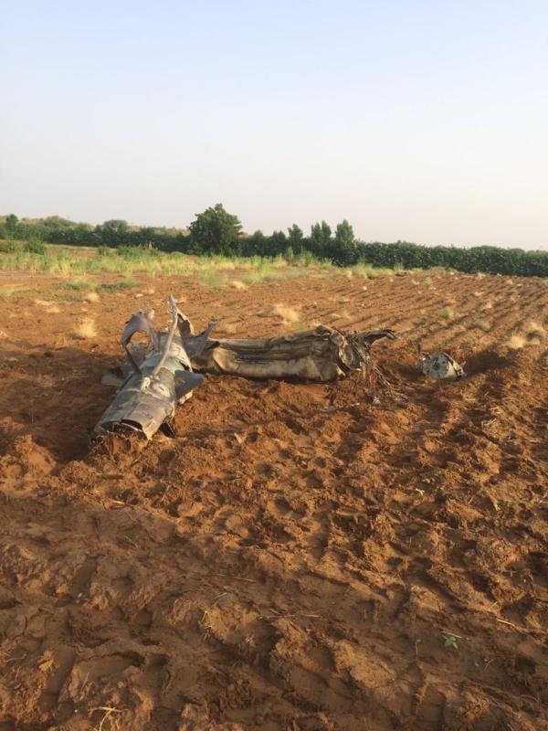 صاروخ الحوثي بعد اعتراضه بجازان