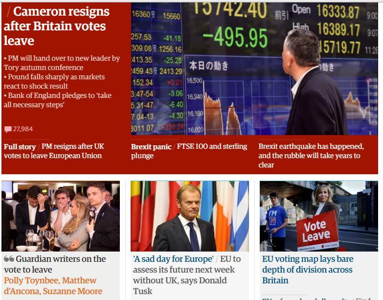 صحف بريطانية بعد نتيجة الاستفتاء (1)
