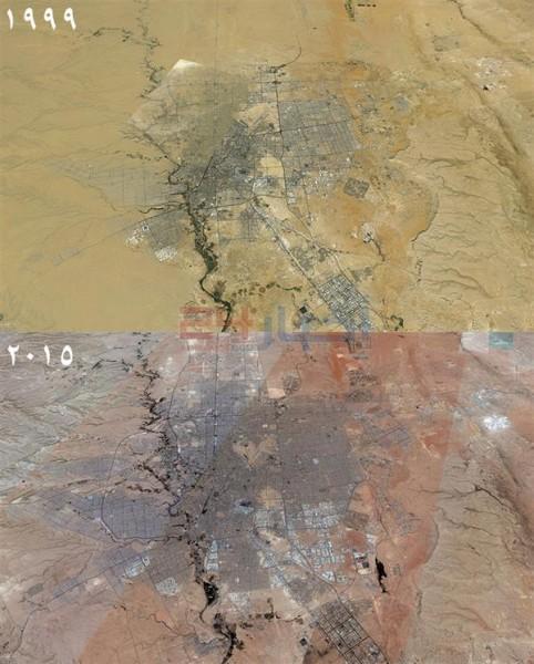 صورة توضح التوسع العمراني لمدينة الرياض بين عامي 1999 و 2015 وظهور احياء جديدة.