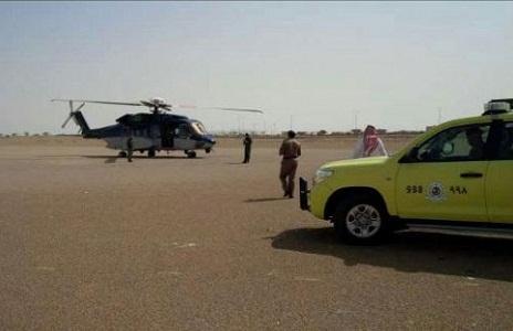 """""""طيران الأمن"""" ينقذ مواطناً سقط في منحدر جبلي بـ""""عقبة سبة"""" في المندق"""