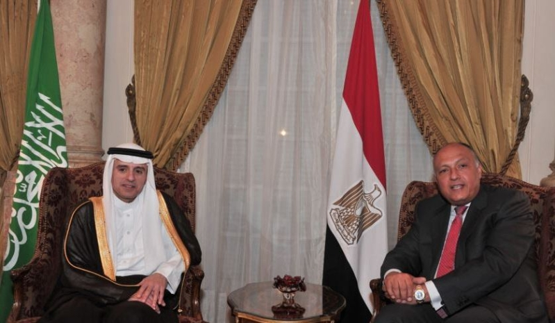 عادل الجبير وسامح شكري وزير خارجية مصر