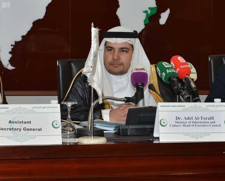 عادل الطريفي خلال ترؤسه الاجتماع الثالث للمجلس التنفيذي لإتحاد الإذاعات الإسلامية