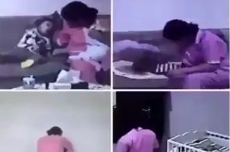 عمالة منزلية تعذب الاطفال