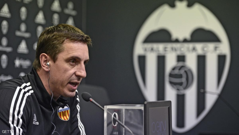 Valencia's British coach Gary Neville speaks during a press conference at the Sports City  in Valencia on February 2, 2015.  AFP PHOTO / JOSE JORDAN / AFP / JOSE JORDAN        (Photo credit should read JOSE JORDAN/AFP/Getty Images)
