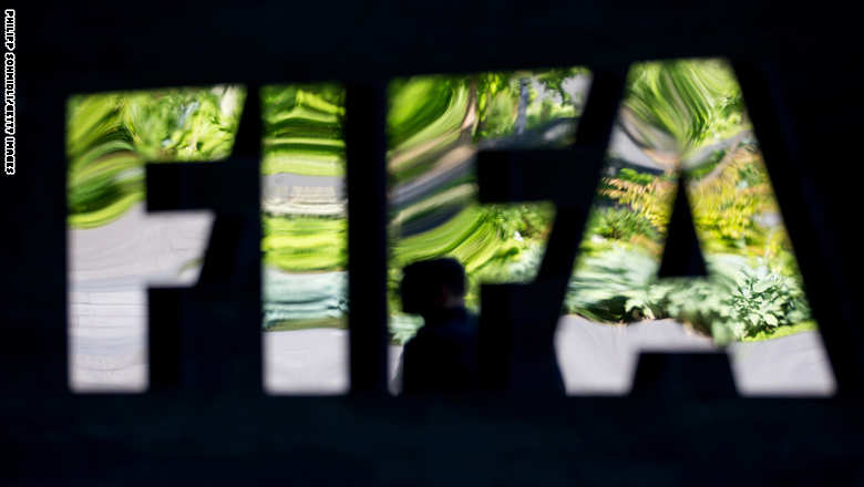 ZURICH, SWITZERLAND - JUNE 03: A FIFA logo sits next to the entrance at the FIFA headquarters on June 3, 2015 in Zurich, Switzerland. Joseph S. Blatter resigned as president of FIFA. The 79-year-old Swiss official, FIFA president for 17 years said a special congress would be called to elect a successor. (Photo by Philipp Schmidli/Getty Images)