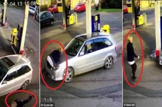 قائد سيارة يتعمد صدم عاملة محطة وقود