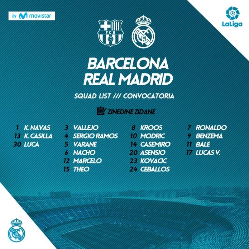 قائمة الملكي في الكلاسيكو مباراة ريال مدريد وبرشلونة