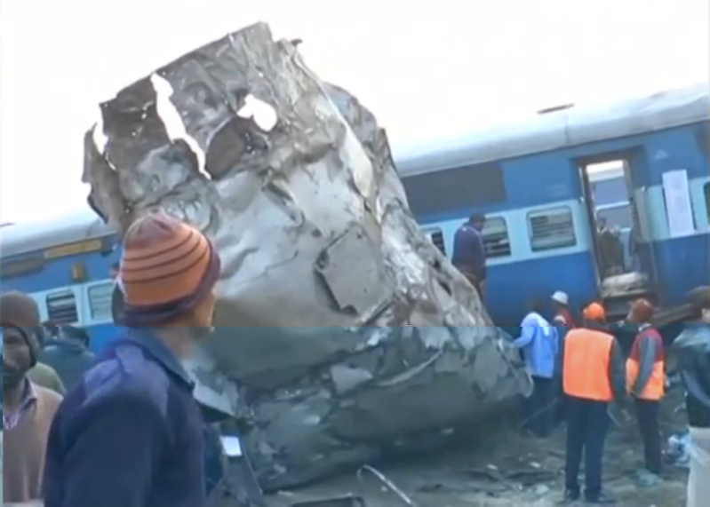A view of a derailed train in Kanpur, in India's northern state of Uttar Pradesh, in this still image taken from video November 20, 2016. ANI/via REUTERS TV  ATTENTION EDITORS - THIS IMAGE WAS PROVIDED BY A THIRD PARTY. EDITORIAL USE ONLY. NO RESALES. NO ARCHIVE. NO ACCESS ARD/BBC        TPX IMAGES OF THE DAY