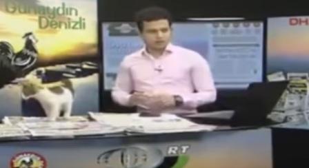 قط يقتحم برنامج تليفزيوني ويجلس أمام المذيع