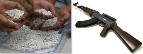 كلاشنكوف وحبوب مخدره