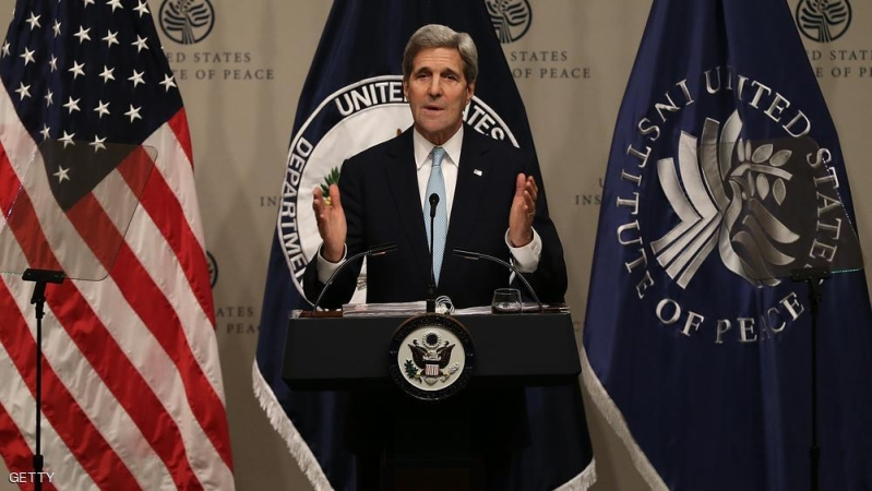 WASHINGTON, DC - NOVEMBER 12:  U.S. Secretary of State John Kerry delivers remarks at the United States Institute of Peace November 12, 2015 in Washington, DC. Kerry spoke on U.S. strategy in Syria during his remarks.   (Photo by Win McNamee/Getty Images)