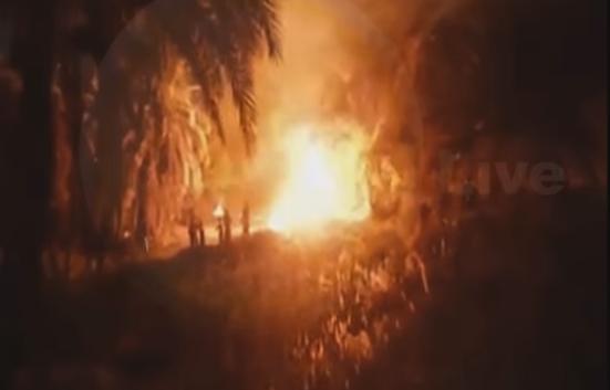 لحظة انتشار الحريق في مزرعة النخيل بالواحات