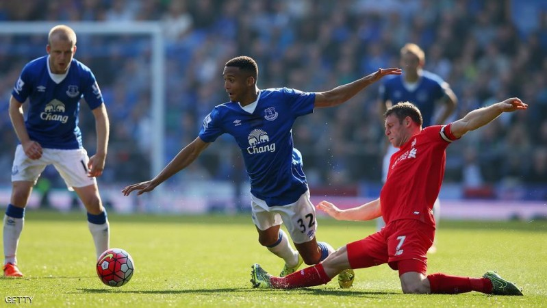 LIVERPOOL, ENGLAND - OCTOBER 04:  Brendan Galloway of Everton and James Milner of Liverpool in action during the Barclays Premier League match between Everton and Liverpool at Goodison Park on October 4, 2015 in Liverpool, England.  (Photo by Alex Livesey/Getty Images)