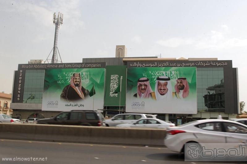 مباني الرياض يزدان بصور الملك 6