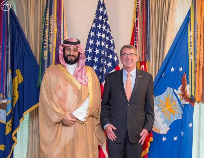 محمد بن سلمان في اجتماع مع معالي وزير الدفاع الأمريكي (781678677) 
