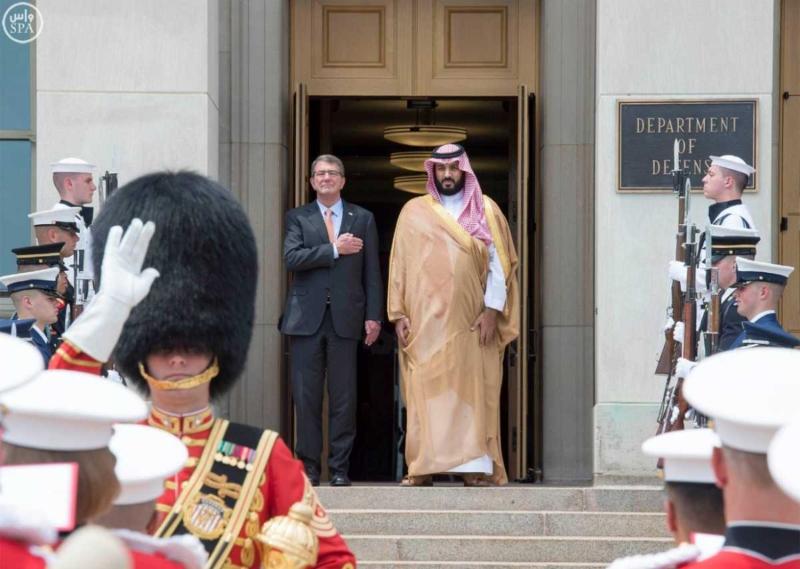 محمد بن سلمان في اجتماع مع معالي وزير الدفاع الأمريكي (781678679) 
