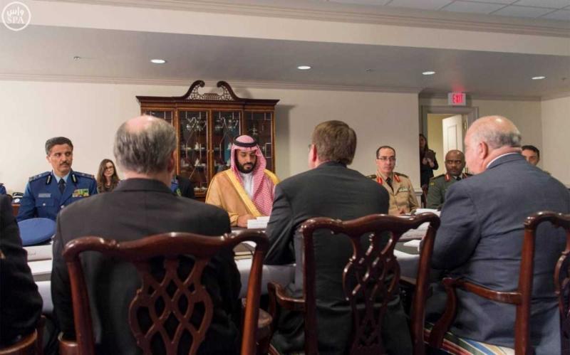 محمد بن سلمان في اجتماع مع معالي وزير الدفاع الأمريكي (781678683) 