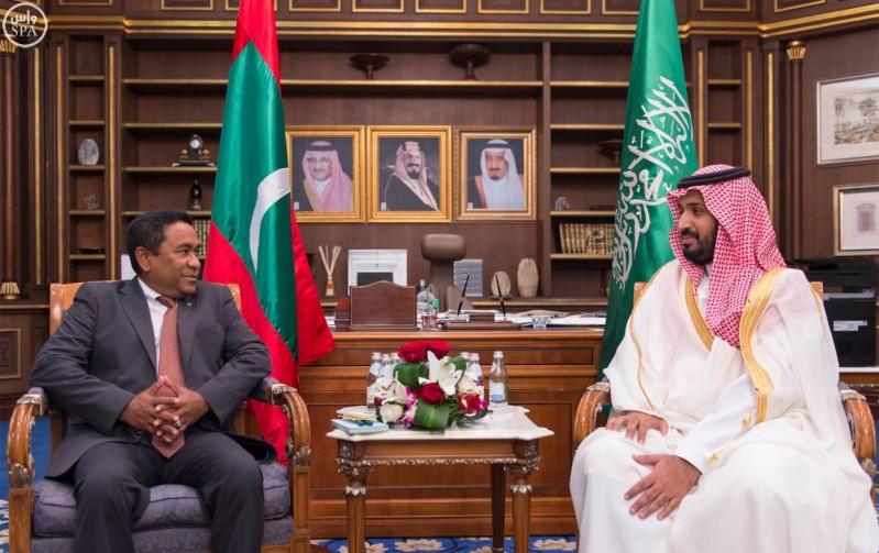 محمد-بن-سلمان-يستقبل-رئيس-المالديف