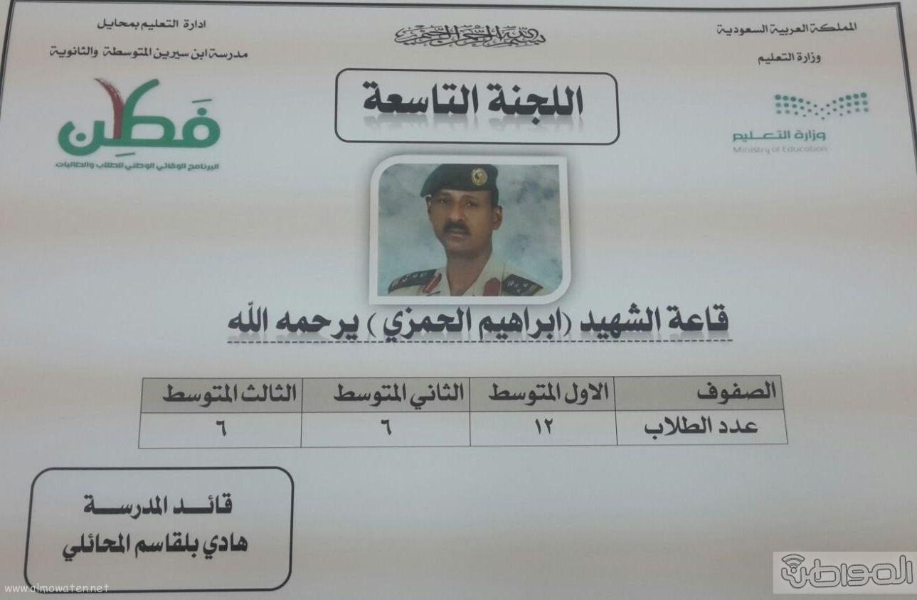 مدارس تعليمية بعسير تقوم بتسمية قاعات لجان الاختبارات بأسماء الشهداء (9)