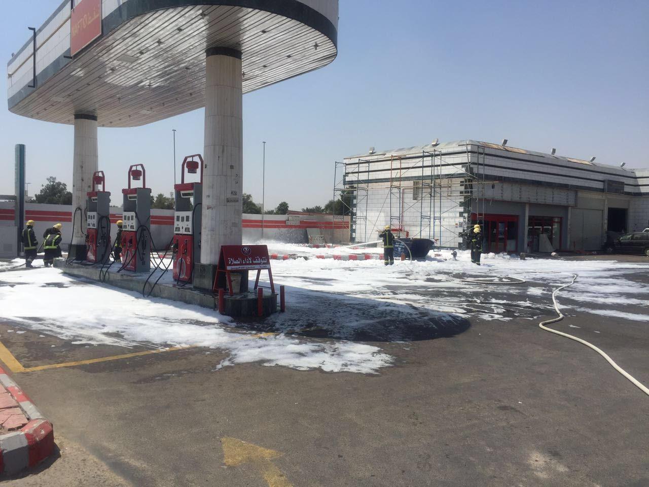 مدني المدينة يباشر تصاعد أدخنة من خزان محطة وقود (1)