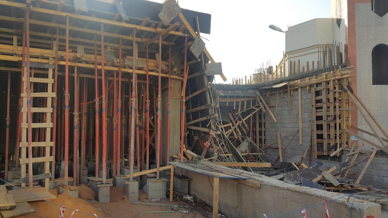 مدني المدينة يوضح تفاصيل انهيار مبنى تحت الإنشاء (2)