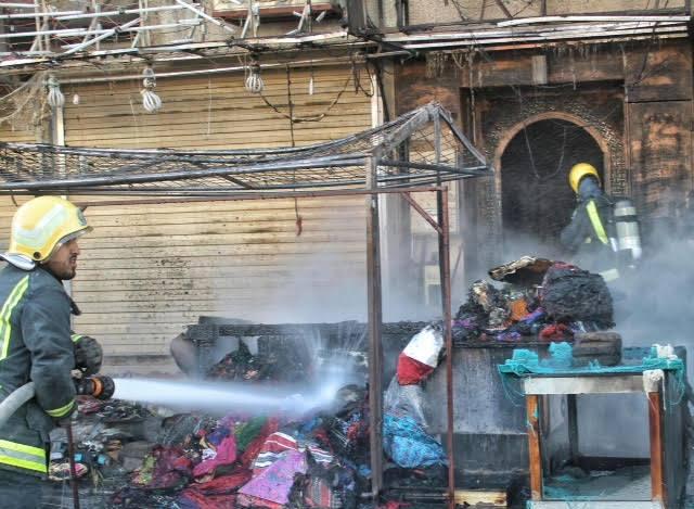 مدني حائل يباشر حريق بمباسط نسائية بسوق برزان (3)