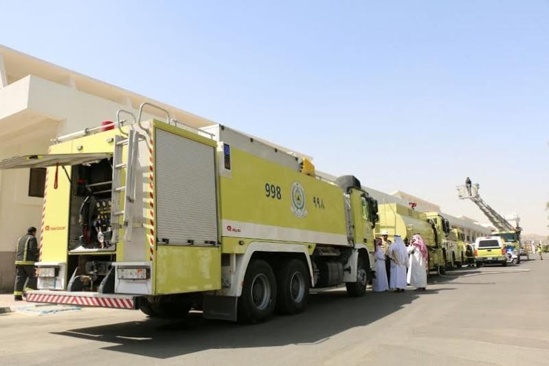 مدني مكة ينفذ فرضية في للإخلاء والإطفاء لمصنع كسوة الكعبة2