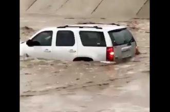 بالفيديو.. قائد مركبة متهور ينجو من سيل جارف بأعجوبة - المواطن