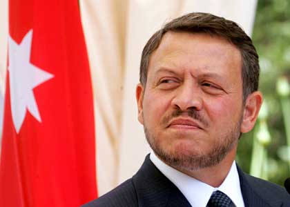 Jordan's King Abdullah pauses during news conference at Raghdan Palace in Amman