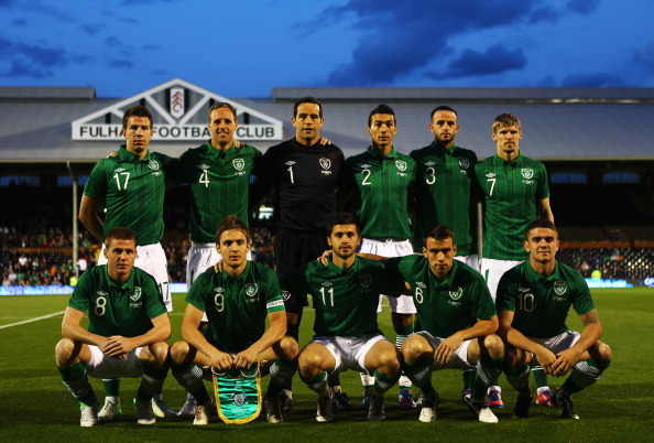 LONDON, ENGLAND - SEPTEMBER 11:  The Republic of Ireland team line up together before the start of the International Friendly match between Republic of Ireland and Oman at Craven Cottage on September 11, 2012 in London, England.  (Photo by Paul Gilham/Getty Images)