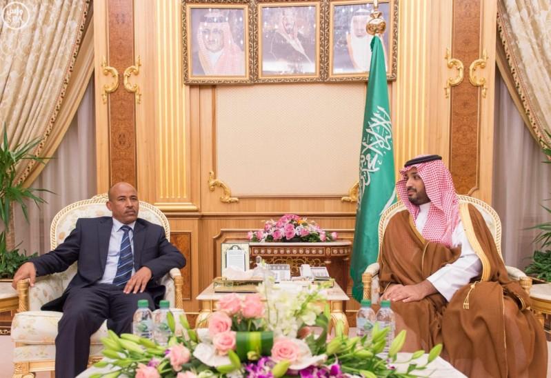 مو ولي ولي العهد يجتمع مع وزير دفاع أثيوبيا ويبحثان فرص التعاون الثنائي (واس) 07-01-1437 هـ