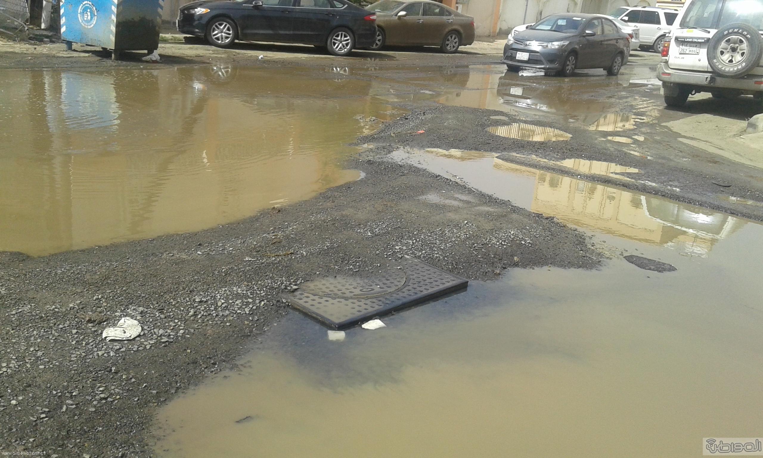 مياه الصرف الصحي تحاصر مسجد ومباني حكومية بروضة جازان (8)
