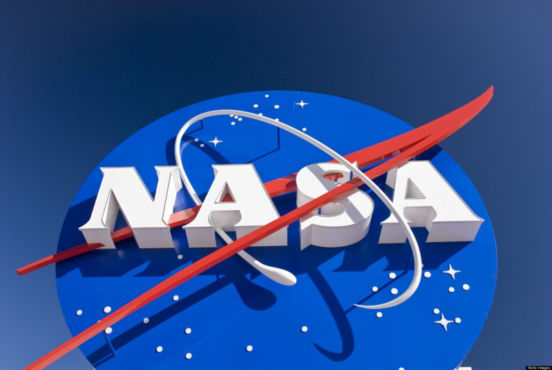 NASA sign at entrance to the Kennedy Space Center Visitors Center.