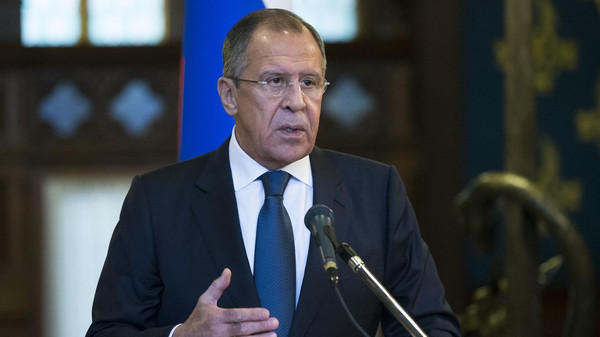 Russian Foreign Minister Sergey Lavrov speaks during his and U.N. Special Envoy for Syria Staffan de Mistura news conference following their talks in Moscow, Russia, Wednesday, Nov. 4, 2015. Lavrov says he hopes that international peacebrokers in the coming days will agree on the list of opposition groups that should be invited to peace talks. (AP Photo/Alexander Zemlianichenko)
