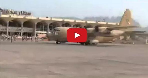 وصول-طائرة-عسكرية-سعودية-لمطار-عدن